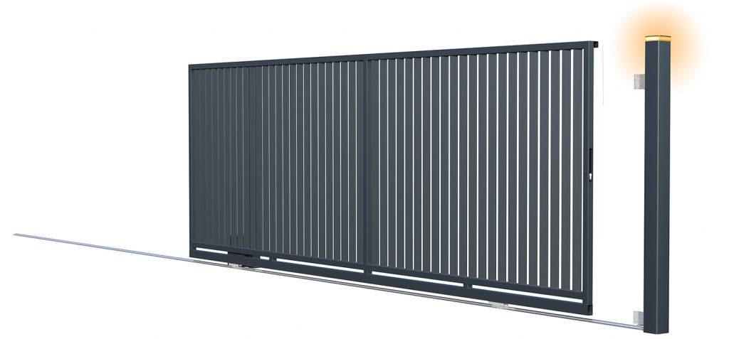 Brama bez przeciwwagi z serii Agat, antracyt, 400 x 152 cm.